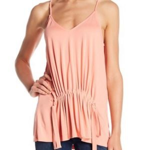 Lush Coral Pink Front Drawstring Camisole NWOT L